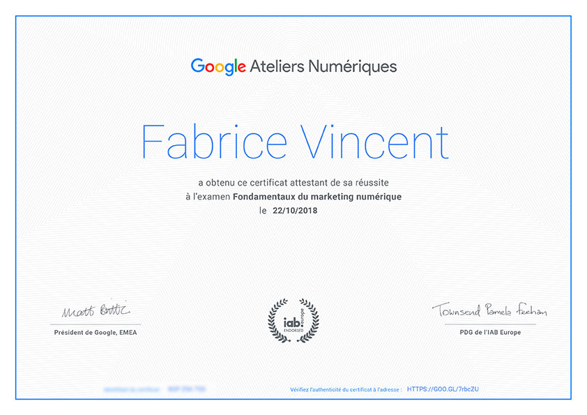 certificat marketing numérique google